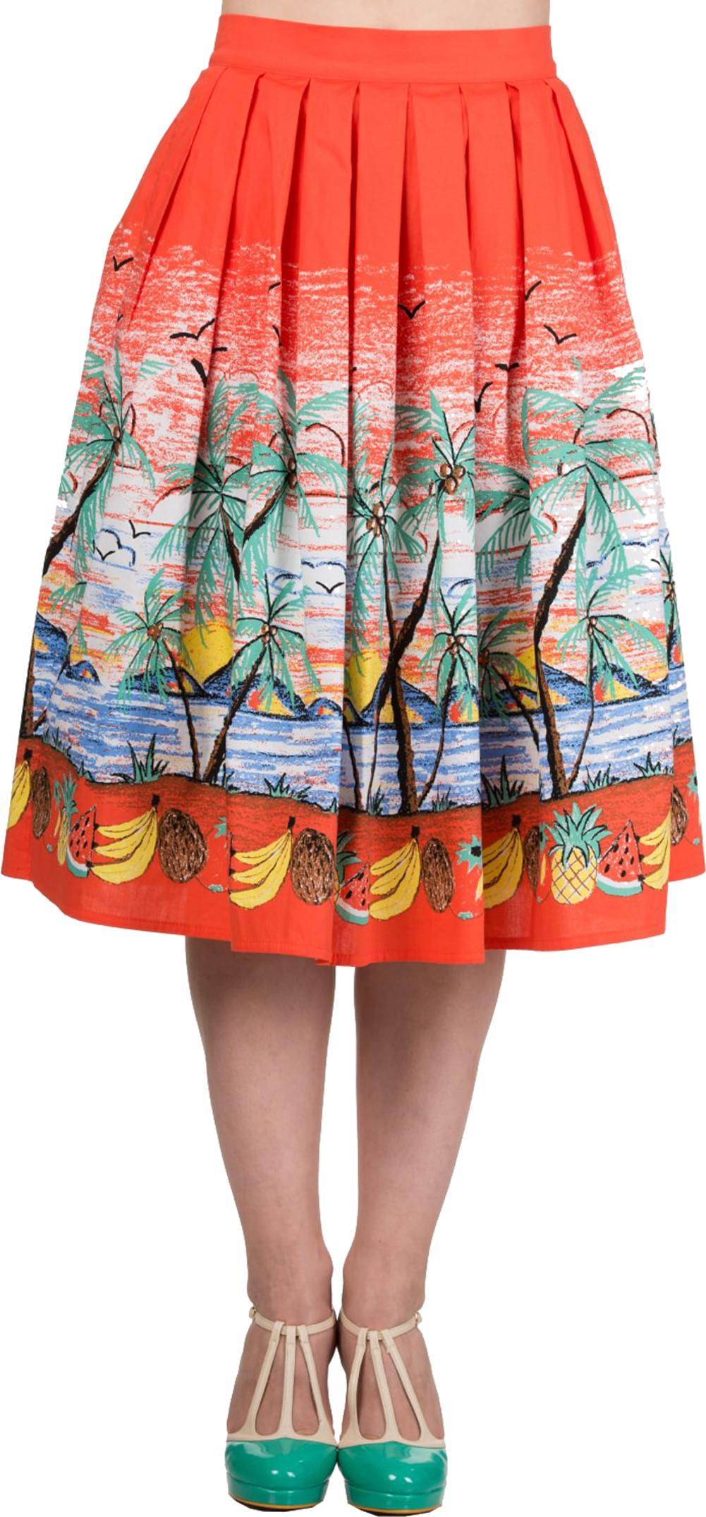 Küstenluder JEANNA Mohnblumen POPPIES Swing Skirt Vintage Rock Rockabilly