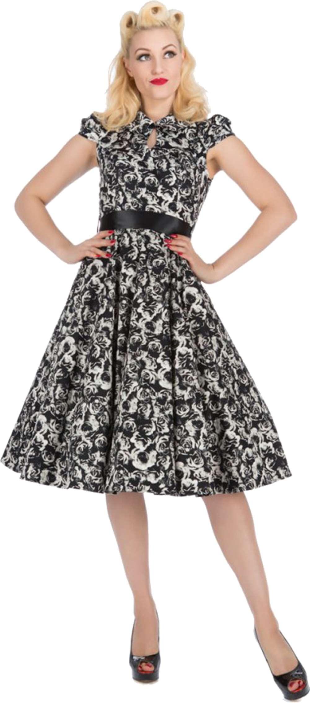 Hearts & Roses Vintage ROSE Bubikragen 50s Blüten SWING Kleid ...