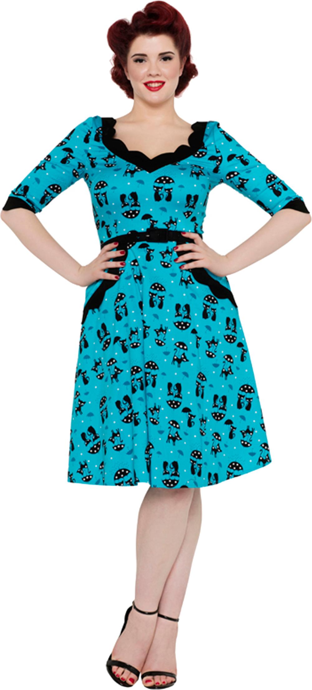 Pretty Kitty Mode Weiß Blau Vintage Blumen Blüte Rockabilly Swing Kleid