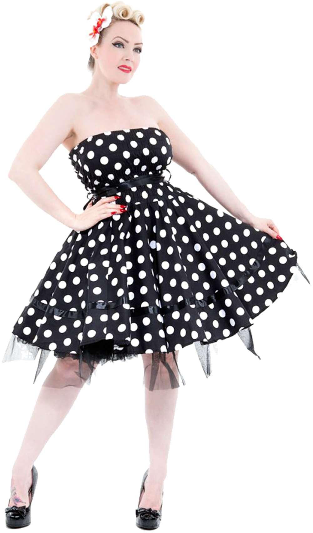 hearts roses smok bandeau pin up polka dots punkte petticoat kleid