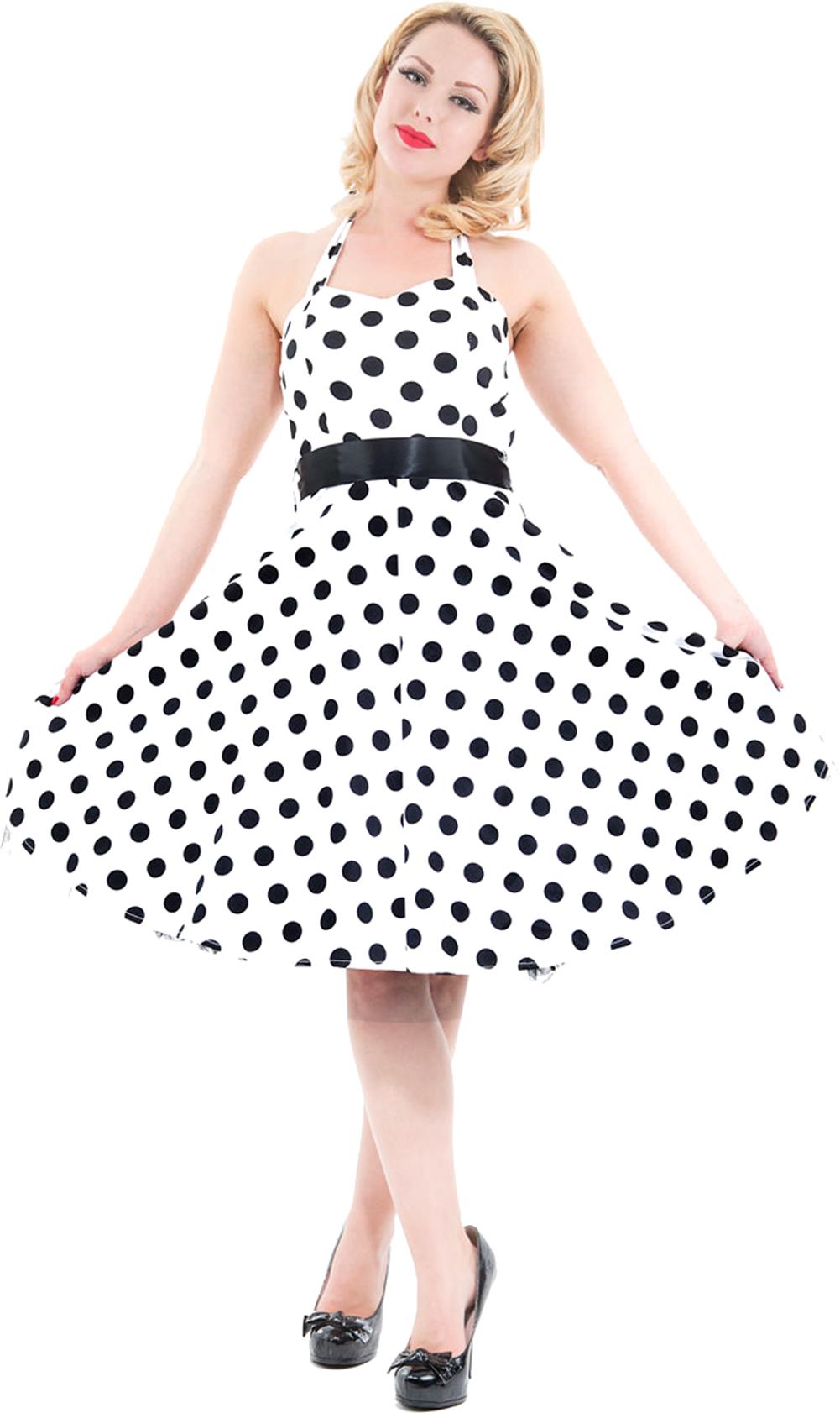 h&r retro punkte polka dots petticoat neckholder swing kleid dress w